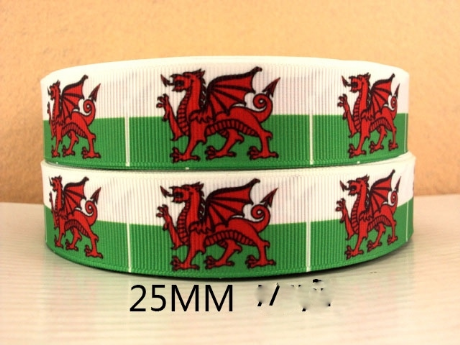 1 METRE OF WELSH FLAG RIBBON WALES SIZE 1 INCH HEADBANDS BOWS CARD MAKING